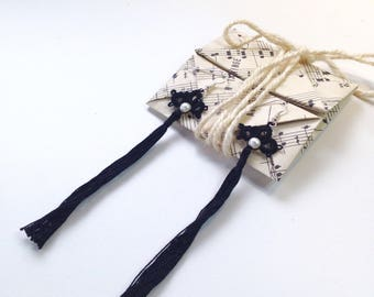 Tassel earrings with origami gift packaging included, all handmade, tatted in black cotton thread