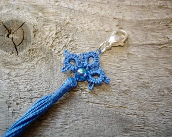 Tassel pendant tatted in Jeans blue cotton thread, Denim, with origami gift packaging included, Handmade