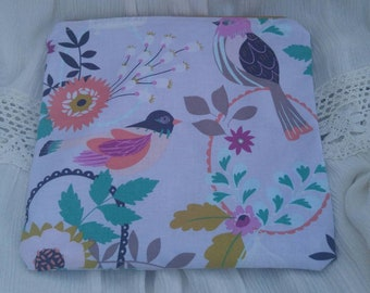 Purple Flowers and Birds Pouch