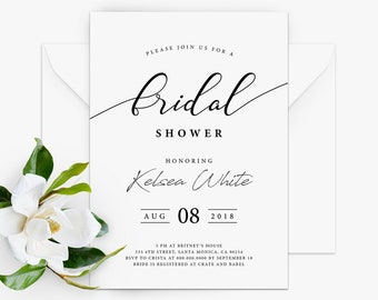 printable modern bridal shower invitation modern bridal shower invite bridal shower invitation simple elegant invitation