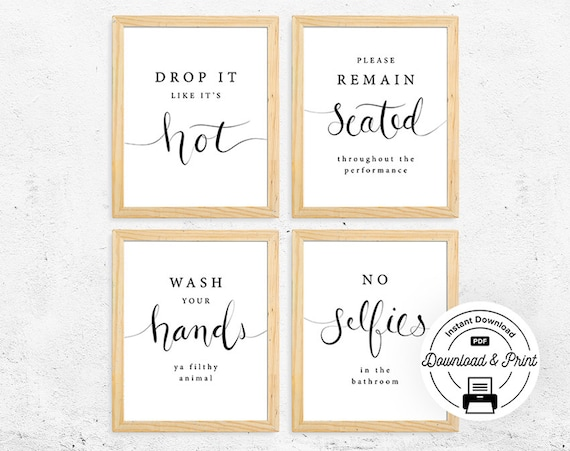 Funny Bathroom Signs Set of 4 INSTANT DOWNLOAD Funny | Etsy