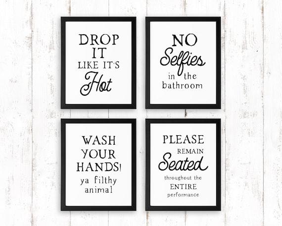 Funny Bathroom Signs Set Of 4 Prints Unframed Bathroom Etsy