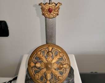 """3d print hand-painted sword and shield belly """"smite"""""""