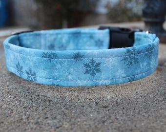 Snowflake dog collar martingale or buckle winter Christmas
