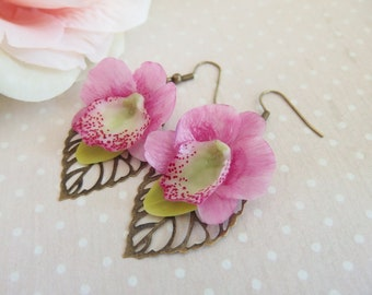 Flower on bronze engraving, Orchid flower earrings Orchid earrings