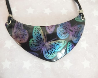 """""""Butterflies"""" polymer clay bib necklace / butterfly necklace"""