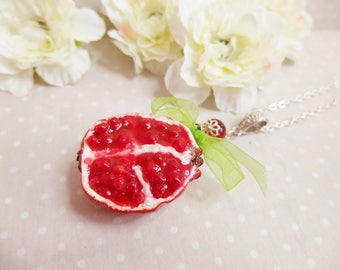 "Long necklace Fruit ""grenade"" polymer clay / fruit necklace / fruit necklace / Pomegranate fruit necklace"