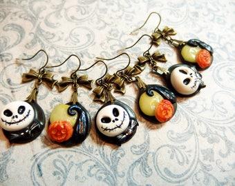 Asymmetrical earrings Mr Jack, Moon and pumpkin.  Earrings Mr Jack