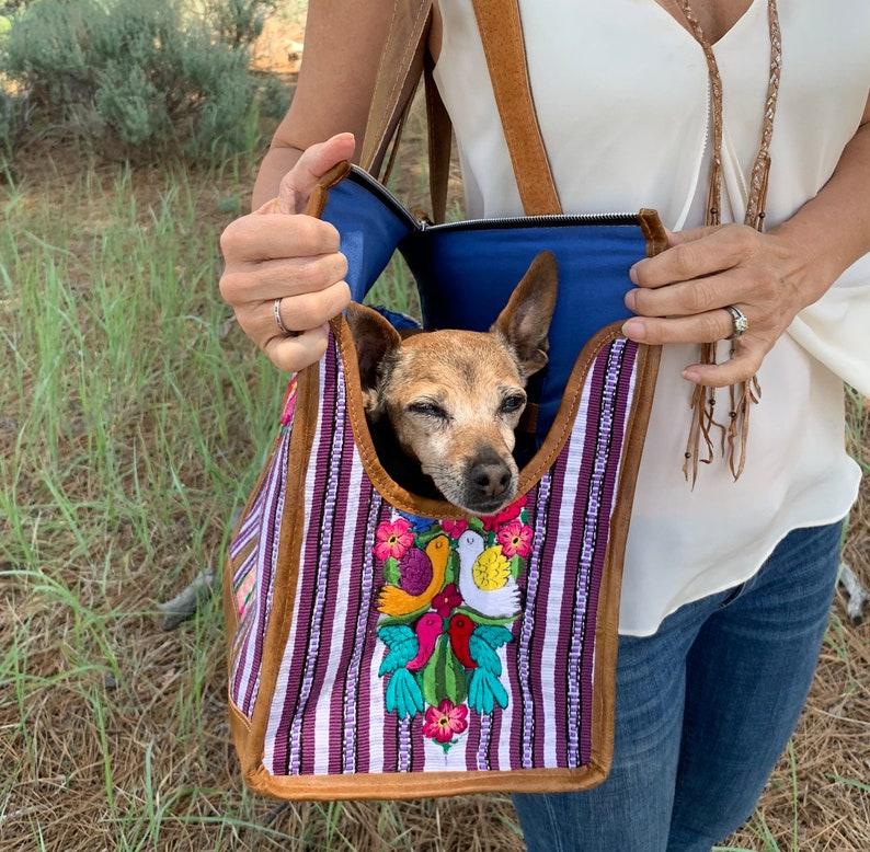 Pet Bag Dog Shoulder Bag Dog Purse Huipil Bag Leather Dog Purse Guatemalan Dog Purse Pet Carrier Pet Carrier