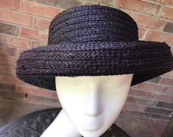 8c82e23ba03 Liz Claiborne - Straw Hat - Raphia Hat - Sun Hat - Vintage Straw Hat