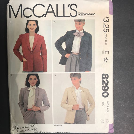 Sewing Pattern for Jacket Jacket McCalls 8290 Blazer | Etsy