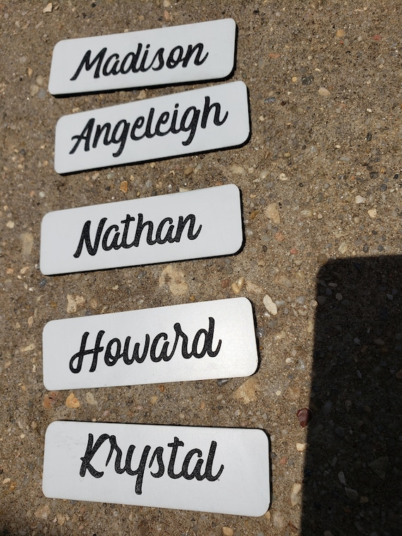 Personalized Engraved Employee Office Name Tags Name Badges w/ Magnet ID  tags, Student Name Tags, Nurse Name Tags