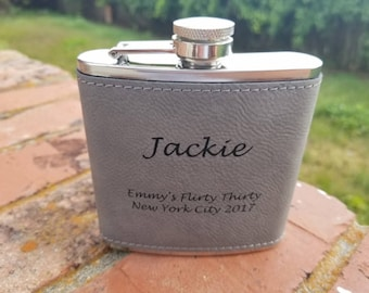 Personalized Engraved 6 oz. Leather Stainless Steel Flask with Funnel, Groomsmen Gift Flask, Wedding Flask