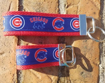 Chicago Cubs Keychain / READY TO SHIP / Wristlet  /  Ribbon Keychain / Ribbon Keyfob / Teacher Gift / Gifts Under 10 /