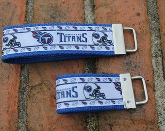 Tennessee Titans Keychain / READY TO SHIP / Wristlet  /  Ribbon Keychain / Ribbon Keyfob / Teacher Gift / Gifts Under 10 /