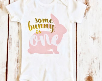 Some Bunny is One, Bunny Onesie, Some Bunny Loves Me, Some Bunny Birthday Party Shirt, First Birthday, Smash Cake Outfit, Easter Onesie