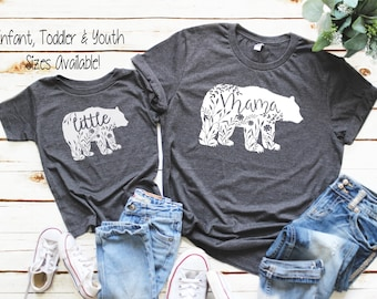 Mommy and Me Outfit, Mama Bear, Baby Shower Gift, Matching mom and baby shirts, Grandmother Gift, Bear Family Shirts, Mother's Day, GRAY