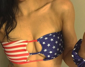 9175822ba Stars and Stripes Bikini Top - Fourth of July Bikini - Patriotic Cute Bikini  - 4th of July Swimsuit - Bandeau Top - American Flag Bikini