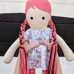 Modern Cloth Doll - Coral Hair, Lace Tights, Animal Print Dress