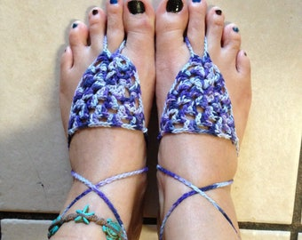 Purple Crocheted Sole-less Sandals