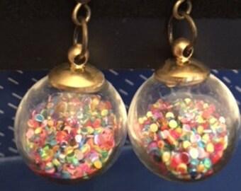 Confetti globe ear dangles