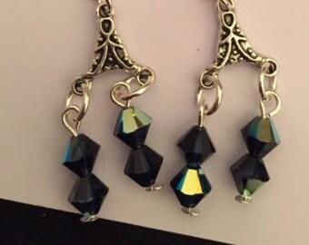 Ear dangles - blue Swarovski crystal
