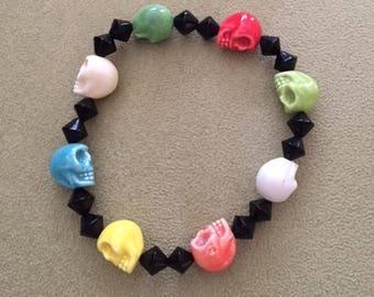 Multicolor skull bracelet