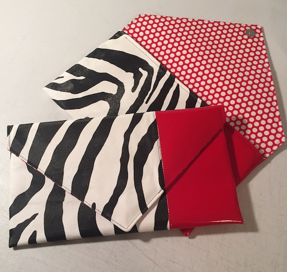 Black White Faux Zebra Red Patent Leather Clutch Purse Etsy