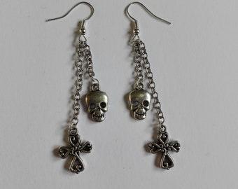 925 Sterling Silver Hook Skull and cross bones Charm Earrings charm dangle Tibetan metal dangle charm handmade horror goth jewellery
