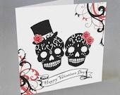 Sugar Skulls Valentine Card Goth Gothic Rockabilly Alternative Spooky Unusual Candy Skull Valentine 39 s Day