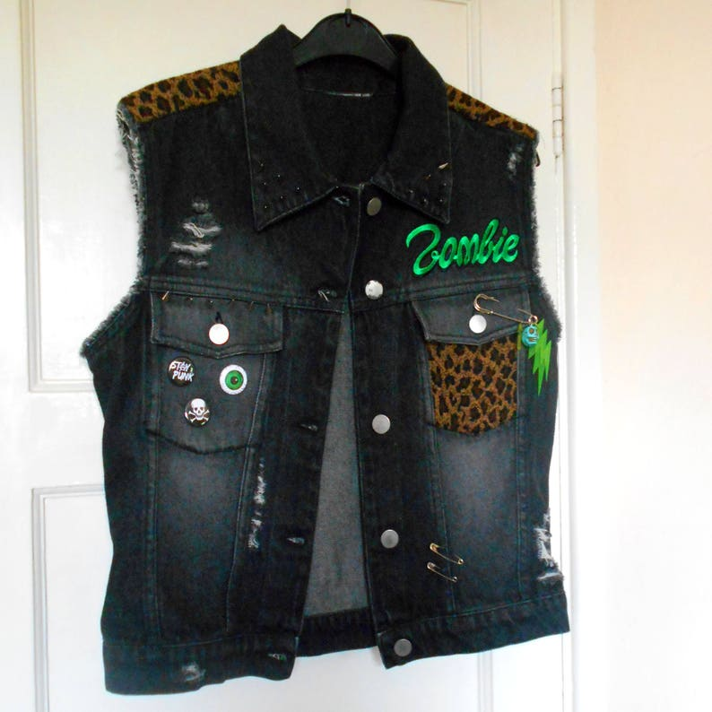 51f60c7234708 Zombie Punk Studded Denim Vest Womens Size M Sleeveless Jacket