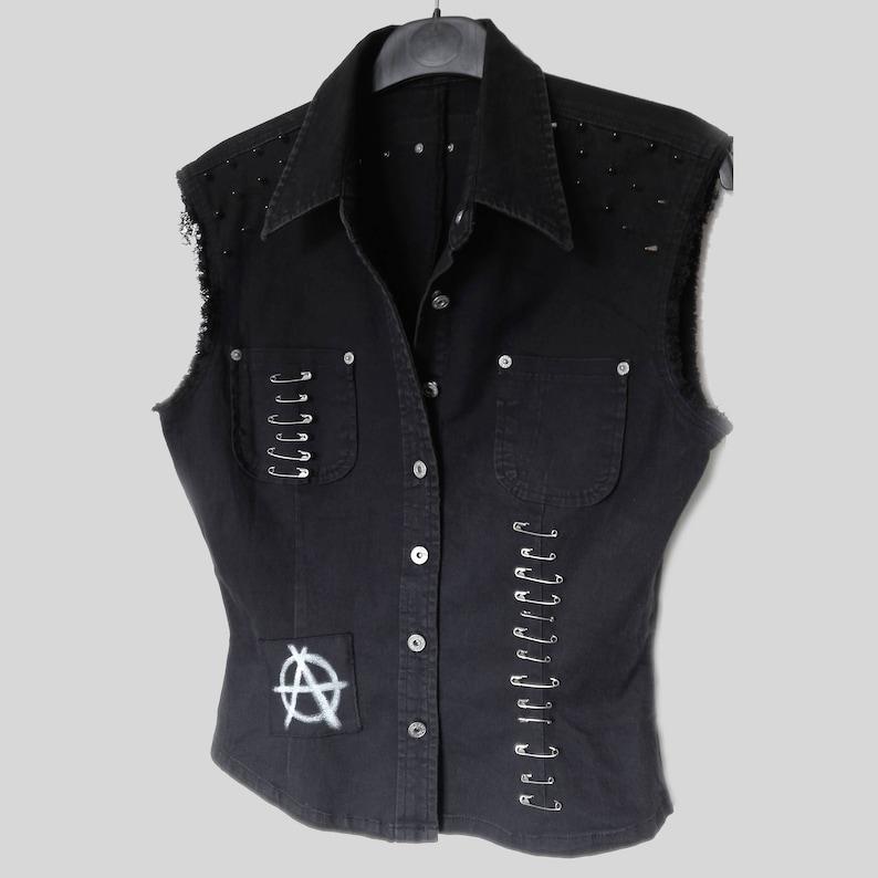 3cd8a95b26ef1 Black Punk Denim Vest Sleeveless UK Womens Size M L Jacket