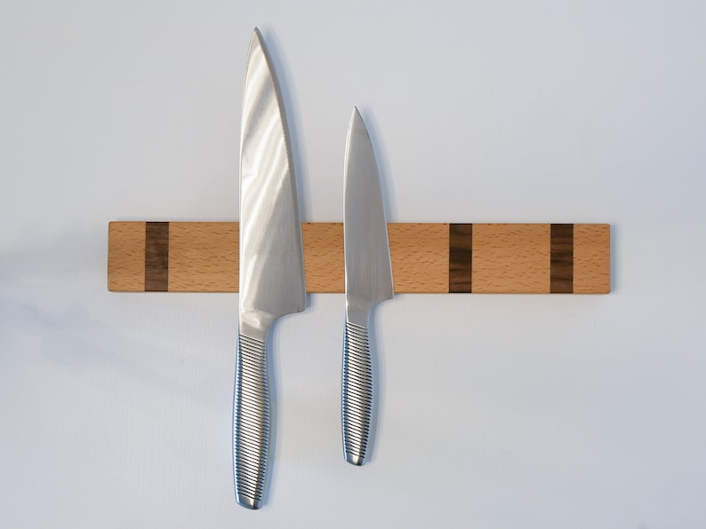 Magnetic Knife Holder Available in Walnut and Beech image 1