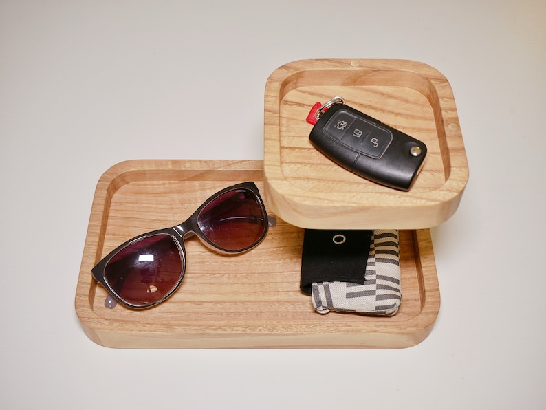 Dual-Level Catchall Tray Solid Chestnut Wood w/ Brass Accents image 0