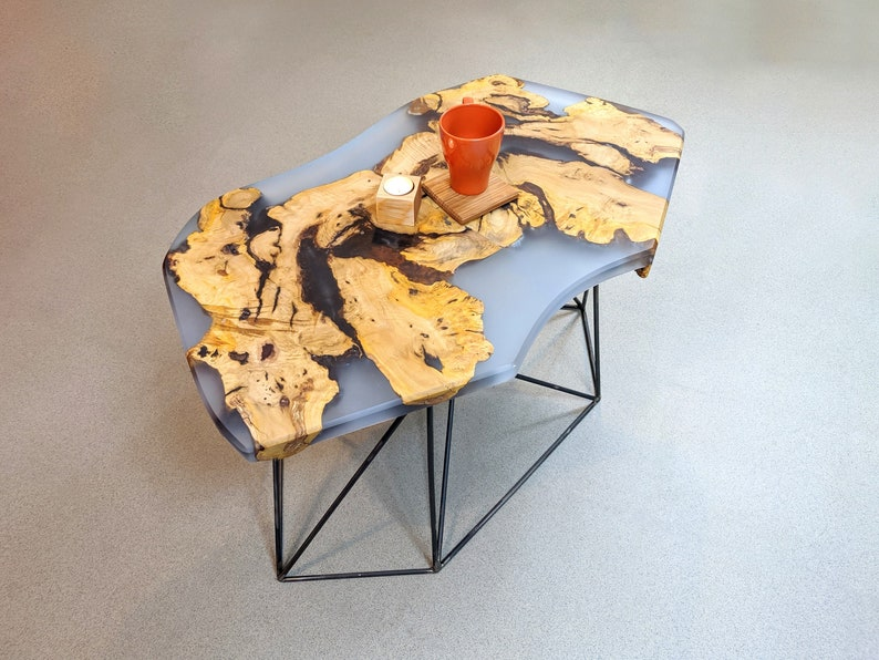 Industrial Style Coffee Table with Epoxy and Wood Top image 0