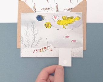 Pop Up Card for Boyfriend, Handmade Card, Housewarming Card for Her, Marine Biology, Moving Card, Pop Up Anniversary Card, New Home Card