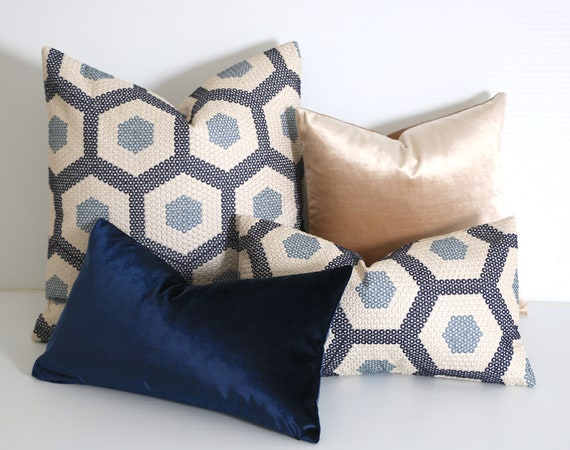 Blue And Beige Pillow Cover One Blue Throw Pillow Cover Etsy Interesting Throw Pillow Covers Etsy