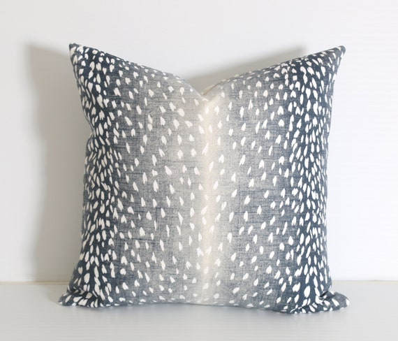 Navy Fawn Pillow Cover 40x40 Blue Animal Print Pillow Etsy Classy Etsy Pillow Covers 20x20