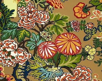 """Schumacher Chiang Mai Dragon """"Mocha"""" Fabric by the Yard"""