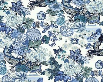 "Schumacher Chiang Mai Dragon ""China Blue"" Fabric by the Yard"