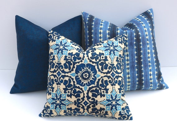 Blue Outdoor Or Indoor Pillow Cover Any Size Outdoor Etsy