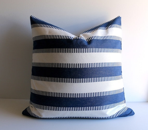 Navy And White Woven Stripe Pillow Cover 40x40 Pillow Covers Etsy Awesome Etsy Pillow Covers 20x20