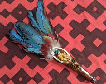 AMAZONIAN SMUDGING FAN Shipibo handmade with real feathers from Peruvian tribe of the Amazon rainforest