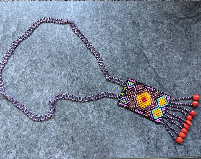 Authentic SHIPIBO SHAMANIC necklace small pechera Kambo frog  milenial ancestral design