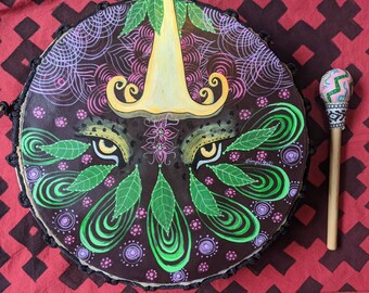SHIPIBO PSYCHEDELIC Shamanic DRUM and drumstick  painted by artist Shimpu Jaguar eyes 15in 38 cms