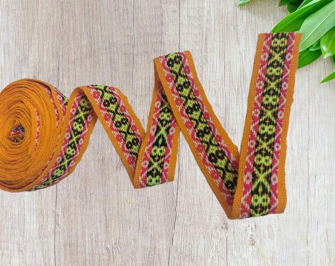 100 cms / 1.09 Yd Andean INKA PERUVIAN Bohemian wool woven ribbon Ethic tribal Handmade by loom 1.5 in / 4 cm