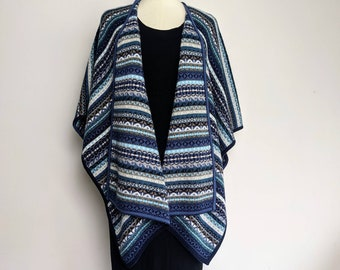 Reversible BABY AlPACA CAPE Ruana  Bohemian Boho Andean Peruvian Folk look teal blue  bohemian striped poncho