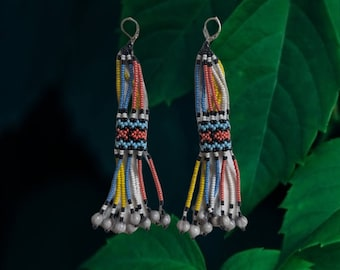 Aunthentic SHIPIBO  long beaded with Amazonian seeds  EARRINGS
