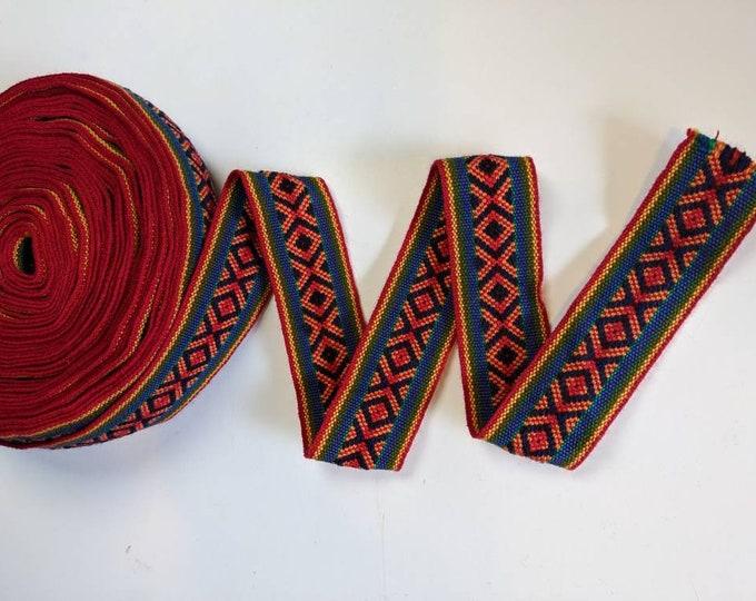 100 cms / 1.09 Yd Andean INKA PERUVIAN Bohemian wool woven ribbon  Handmade by loom 1.75 in / 4.5 cm
