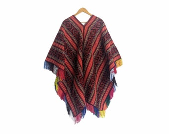 INKA Q'ERO PONCHO authentic unisex shamanic ceremonial outfit Andean Cuzco Peruvian red colorful fringed cape